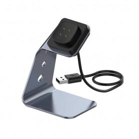 DrPhone SD1 Fitbit Versa 3 / Sense Oplaaddock – Dockingstation - Aluminium - Opladerstandaard met ingebouwde oplader – Grijs