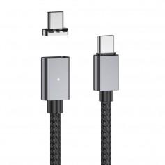 DrPhone TITAN® - Type C naar USB-C - 100W - Magnetische Kabel Voor o.a. MacBook / iPad - PD + Data Transfer - Zwart