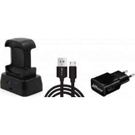 DrPhone DualFB - Fitbit Versa 1 - Dubbele laaddock - Oplaad station - Oplader + 1 meter stevige MICRO USB Oplaadkabel