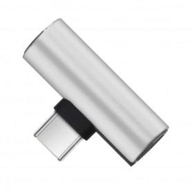 DrPhone DA1 - USB-C Duo Adapter - Converter - USB-C Naar Mini Jack + USB-C - Zilver (geen dac ondersteuning)