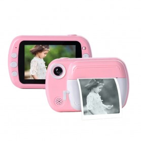 DrPhone PIX11 - Speelgoedcamera + SD kaart - Printcamera - 1080P - 3.5 inch - Roze/wit