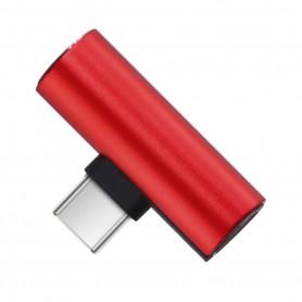 DrPhone DA1 - USB-C Duo Adapter - Converter - USB-C Naar Mini Jack + USB-C - Rood (geen dac ondersteuning)