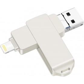 DrPhone FDS4 3 in 1 USB Flash Drive – USB Stick 128GB - Memory Stick – OTG -USB 3.0 – Lightning- Micro USB - Zilver
