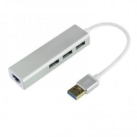 DrPhone EA2 USB 3.0 hub met RJ45 Gigabit Ethernet LAN-adapter - 10/100 / 1000M Gigabit met 3-poorten USB 3.0 – Zilver