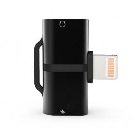 DrPhone DLC Audio Splitter Adapter - 2 Lightning Poorten - Stereo Sound - Opladen + Audio - 2 in 1 - Voor iPhone en iPad – Zwart