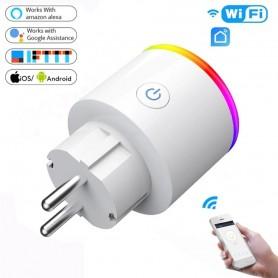 DrPhone WSP5 WIFI Draadloos Smart Plug met RGB – 16A- Smart Life met Alexa en Google Home Assistant Voice Control – Wit