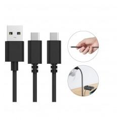 DrPhone Dual oplaadkabel Type-C - Dubbele USB-C uitgangen - 3 Meter - Compatibel met PS5 / Nintendo Switch/Lite en Xbox Series X