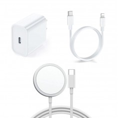 DrPhone CM10 - Gecertificeerde MagSafe Oplader 15W + DrPhone Lunar 18W Adapter voor iPhone 12 series