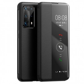 DrPhone Huawei P40 Pro - View Flip Cover - Kunststof - Zwart