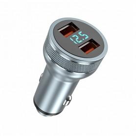 DrPhone Invisible3 USB QC3.0 3A/9V Autolader - Snel Opladen -12-24V- 36W met Digitale Display Spanningsdetectie - Zilver
