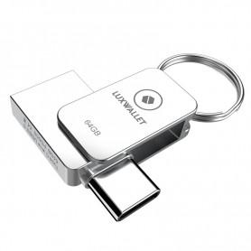 LUXWALLET PD5 Mini USB Stick 64GB USB-C Type-C OTG USB 3.0 Flash Drive – Geheugen – Zilver