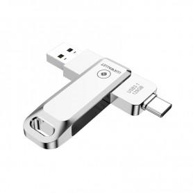 LUXWALLET PD8 USB Stick 128GB USB-C Type-C 3.1- USB 3.0 Flash Drive - OTG –360 Graden Roteerbaar – Zilver