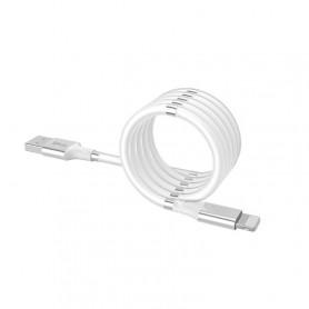 DrPhone MAG - 3A Kabel - Magnetisch Oprolsysteem - Geschikt voor Apple Lightning - iPhone - iPad - 1 Meter Oplaad kabel – Wit