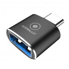 LUXWALLET DMA12 USB C / Type C Male naar USB 3.0 Female OTG Adapter -Zwart