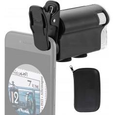 DrPhone DM1 Smartphone Zoom Clip-on Digitale Microscoop - Vergrootglas 60X-100X Met LED & UV Licht -Zwart