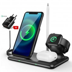 DrPhone DFC3 4-in-1 Draadloos Oplaadstation – 15W –Qi Oplader Geschikt voor o.a Apple Watch & Airpods 2(PRO) / Buds Pencil