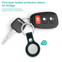DrPhone – AE2 - Beschermhoes Met Sleutelhanger - Anti-Kras - PU Leer – Voor Apple AirTags - Donker Groen