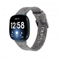 DrPhone FVS2 Geweven Nylon band – Canvas Smartwatch Armband Geschikt voor Fitbit Versa 3 / Fitbit Sense - Grijs