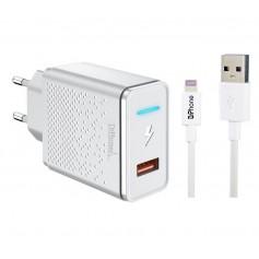 3 in 1 voordeelpakket DrPhone oplader 12 Watt en Lightning datakabel. 12W Oplader + kabel 1+2 meter