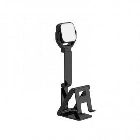 DrPhone MHL3 2-in-1 Selfielamp & Mobiele telefoonhouder met LED-verlichting - Opvouwbaar - Zwart