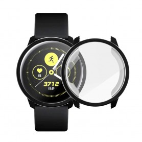 DrPhone AC3 - Samsung Watch Cover - Galaxy Active2 44mm - Ingebouwde Screen Protector - Soft Shell - Flexible – Zwart