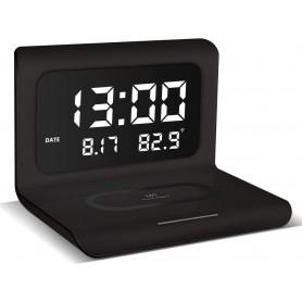 DrPhone XK4 - Digitale Wekker met draadloos opladen & LED-display – Geschikt voor Smartphones met Qi - Wireless Laden - Zwart