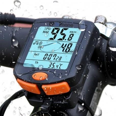 DrPhone FCS1 Fietscomputer - Draadloze fiets snelheidsmeter - Spatwaterdicht - 4-Lijn display met achtergrondverlichting