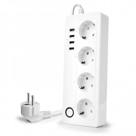 DrPhone SPS Wifi Smart Stekkerdoos 16A Plug Socket -4x USB poorten - Voice Control Met Alexa Google Home Tuya app
