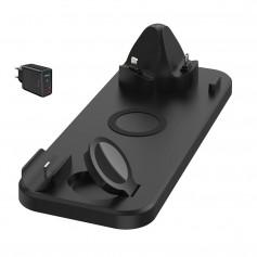 DrPhone DFC5 Draadloze Oplader - 6 in 1 - Draaibaar oplaadstation voor o.a Apple Watch/AirPods Pro & Smartphones - Zwart