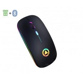 DrPhone DML Draadloze Muis 2.4Ghz met 7 Kleuren verlichting- Stille muis – Oplaadbaar - Mat Rosegold