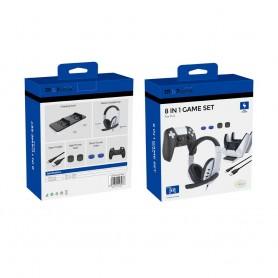 DrPhone GMX 8 in 1 Game Set – Fast Charging – Charging Dock , Stereo Headset , controller case etc. – Geschikt voor ps5