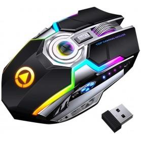 DrPhone DML4 Draadloze USB 2.4Ghz Gaming Muis met RGB verlichting- Stille Ergonomische muis met metalen scroller - Zwart