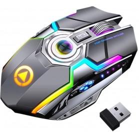 DrPhone DML4 Draadloze USB 2.4Ghz Gaming Muis met RGB verlichting- Stille Ergonomische muis met metalen scroller - Grijs
