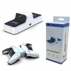 DrPhone DXP – Dual Charger Dock – Met Blauw led licht – Geschikt voor ps5 controllers – Opladen met USB – Wit