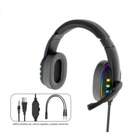 """DrPhone GH47 Bedrade AUX 3.5mm Gaming LED Headset - 40mm met microfoon - Koptelefoon - met 3,5 mm """"Y"""" –verlengkabel – Zwart"""