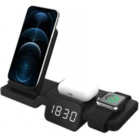 DrPhone LEGEND5 15W Draadloze Qi Oplaadstation met Tijdweergave – Geschikt voor Apple watch, Airpods & Smartphones