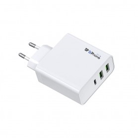 DrPhone XPT USB-C Charger – 65 Watt – Fast Charger – 3 USB-C Poorten – Wit