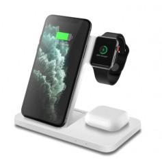 DrPhone Legend7 Pro - 15W - 3 in 1 Draadloze Oplader - Dock - Geschikt voor Apple Watch / iPhone / Airpods - Wit