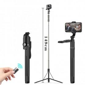 DrPhone SSL5 Multifuntionele Bluetooth Tripod Selfie Stick – 1.49M uittrekbaar – Statiefhouder + 360 graden Rotatie