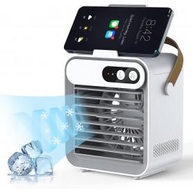 DrPhone AIF1 – Mini Air Conditioner Fan – Telefoonhouder – Ingebouwde Batterij – Cosmetische Spiegel – Luchtbevochtiger - Wit