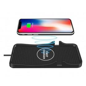 DrPhone QIA – 2 in 1 Auto Qi Lader Pad + Auto telefoonhouder – Antislip – Qi Gecertificeerd – Zwart