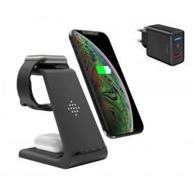 DrPhone T3 Pro – 3 In 1 - Draadloze Oplader – Apple Watch – Apple Airpods – Galaxy Buds - iPhone + 18W Adapter - Zwart