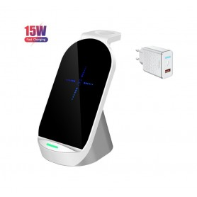 DrPhone QW2 – 3 in 1 Draadloze lader – Dock - Veilig Laden - iPhone – Apple Watch / Airpods Pro – 15W + QC Adapter- Wit