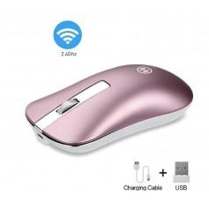 DrPhone NIYE Serie Draadloze Stille Muis 2.4Ghz – 2 in 1 – USB & Bluetooth 5.0 – DPI - Oplaadbaar – Rosegold