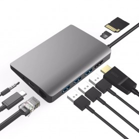 DrPhone MD9 9-in-1 Multi Port USB-C HUB – PD Power delivery – HDMI 4K - 3.5Mm Jack – 3x USB 3.0 - Ethernet RJ45 & MicroSD/SD