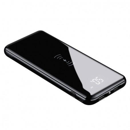 DrPhone PBX2 2 in 1 Powerbank + Qi Draadloos opladen – 2x USB 2.0 –10000 mAh met Led lamp & Digitale Display–