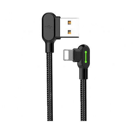 DrPhone MDD Series Lightning Oplaadkabel 2.4A – Oplaadsnoer - 90 graden Haaks Nylon Gevlochten Kabel & Data syncronisatie - 1.8M