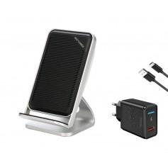 DrPhone SC901- Quick Draadloze Dock - Voor iPhone 8 Plus / XS - 10W Draadloze lader – Zwart - + 3.0 Quick Thuislader - Adapter