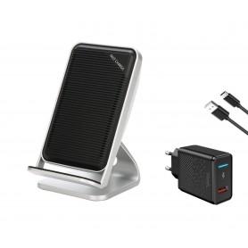 DrPhone SC901- Quick Draadloze Dock - Voor iPhone 8 Plus / XS - 10W Draadloze lader – Grijs - + 3.0 Quick Thuislader – Adapter