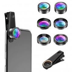 DrPhone APEX 6 in 1 Telefoon Camera Lens Set – Fish Eye Lens – Super Groothoek Lens – Macro Lens – Star Filter Lens – Zwart
